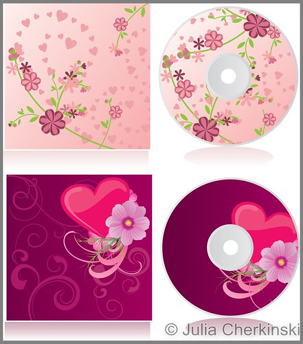 vector pink flowers discs covers set