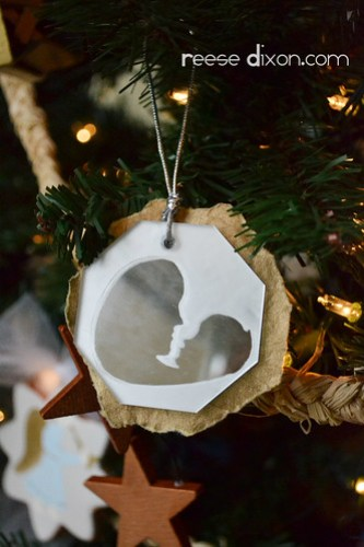 Frosted Mother and Child Ornament
