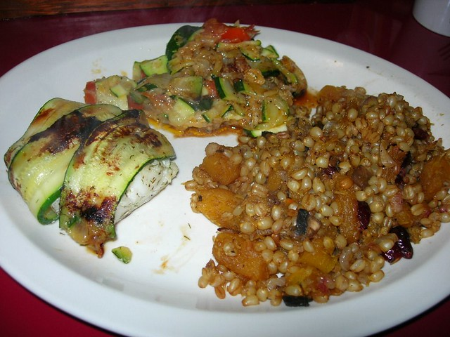 Zucchini Wrapped Cod with Wheatberry Salad & Tomato-Zucchini Hash