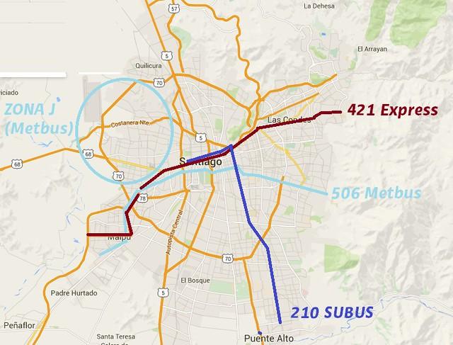 Mapa Subus, Express, Metbus