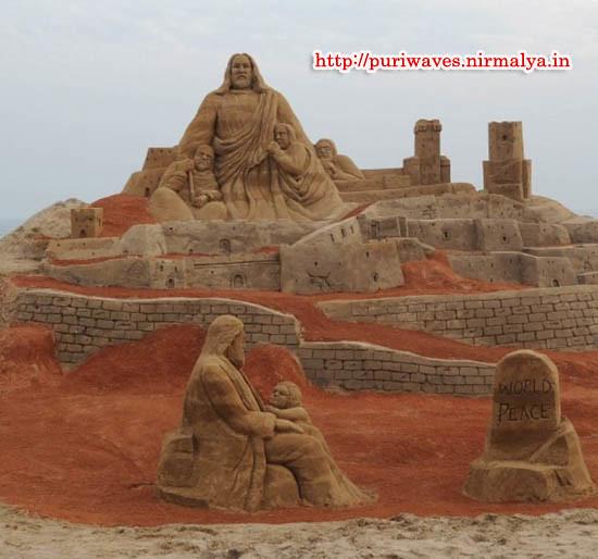 """""""PEACE POINT"""" Sand Art Park testimony of World Peace on Puri beach"""
