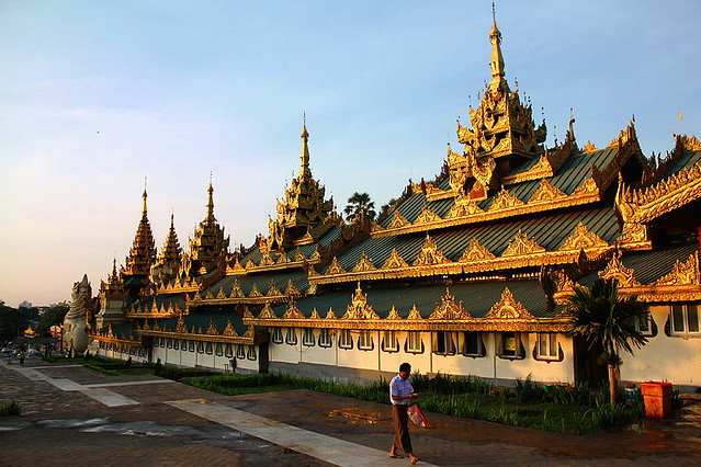 The South Gate of Swedagon Pagoda early in the morning