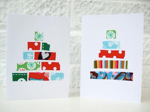 Fake patchwork Xmas cards