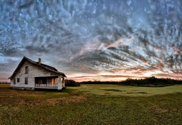 Old house and sunrise