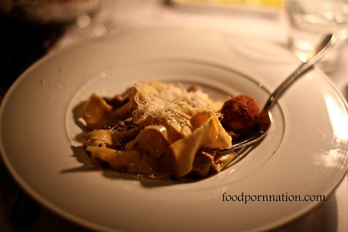 Freshly-made Pappardelle with White Rocks Veal Ragu, Marjoram and Bone Marrow @ Pendolino