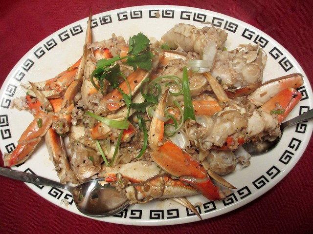 Stir-fried crab with green onions & ginger