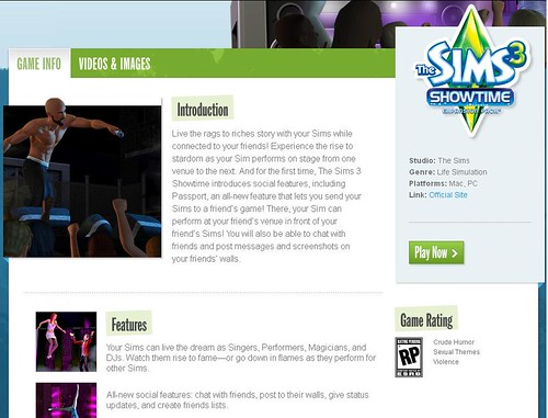 Showtime Added to EA's US The Sims Site!