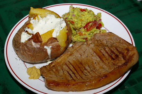 Steak with jacket potato and guacamole by La belle dame sans souci