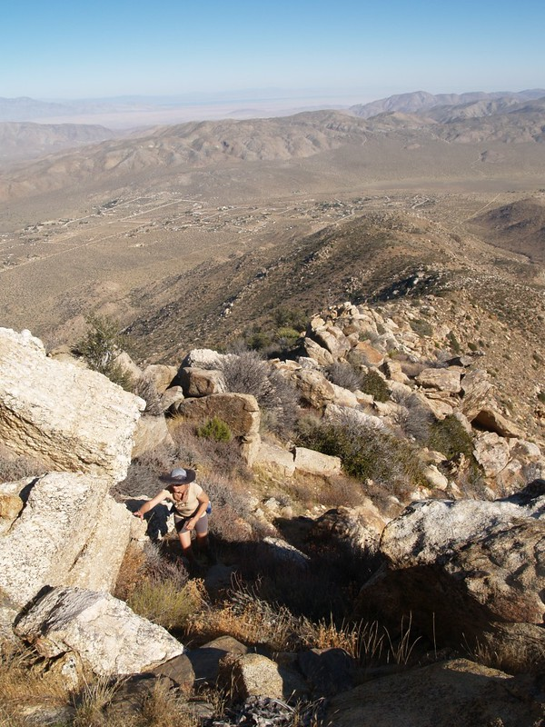 Looking down the rocky section of the ridge. The Salton Sea is in the distance.