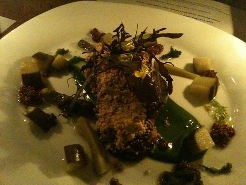 Monkfish Liver, Cucumber, Cornichons, Mustard Seeds