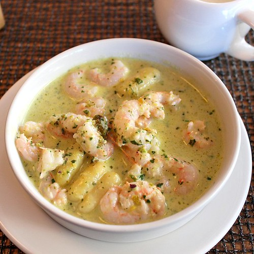 *Sweet Maine Shrimp with Potato Gnocchi and Pistachio