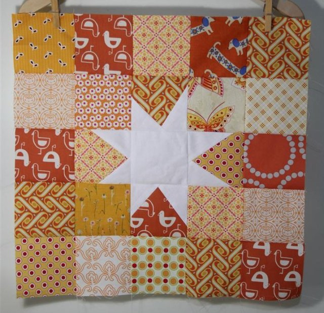 Sample block for the Sew & Bee-Happy quilt