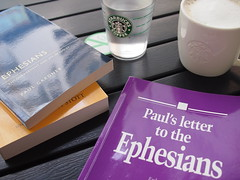 Studying Ephesians at Starbucks Rochester Park, 37 Rochester Drive