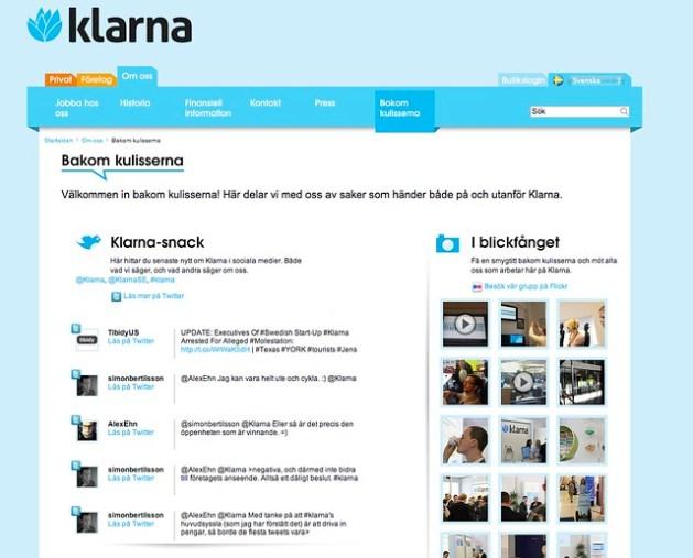 Klarna screenshot with twitter feed