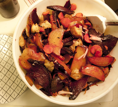 Roasted Beet and Carrot Panzanella with Shallots and Balsamic Vinaigrette