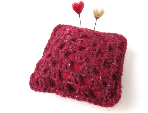Tweedy granny pincushion