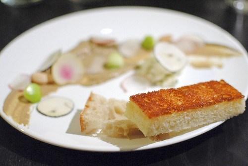 chicken liver, radish, toast, apple, parsnip, almond