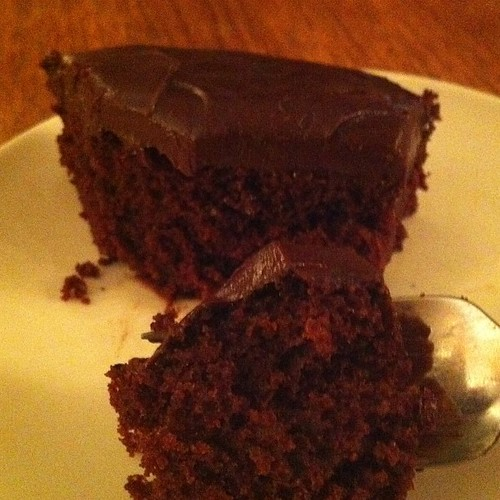 Vegan chocolate cake ~ Wacky cake ~ with bourbon ganache. Thanks mOm