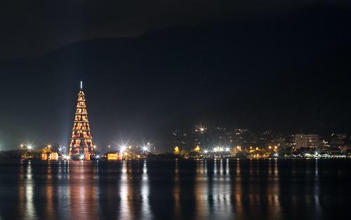Floating Christmas Tree in Lagoa, Rio de Janeiro, Brasil