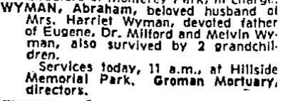 Abe Wyman Jan. 30, 1958 Obit LA Times