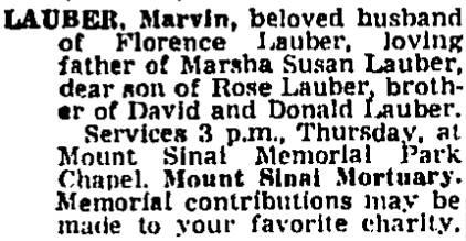 Marvin Lauber Obit July 1, 1971