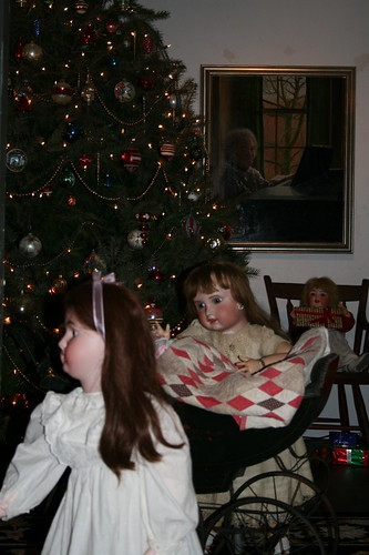 Brandywine Christmas Dolls with Ann painting on wall