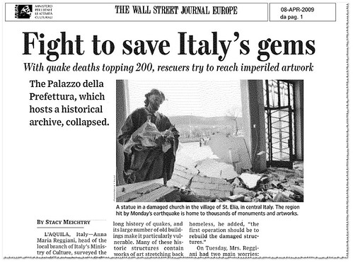 "ITALY, L'AQUILA: DR. ANNA MARIA REGGIANI [INTERVIEW],""FIGHT TO SAVE ITALY'S GEMS. THE WALL STREET JOURNAL EUROPE (APRIL 8TH, 2009), p.1. [PDF].  by Martin G. Conde"