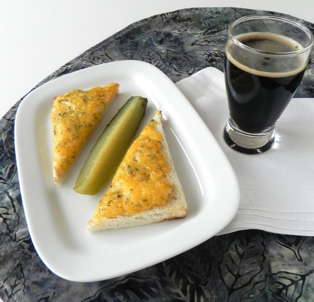 Cheesy bread and stout