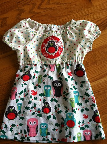 owl christmas dress w/hand applique