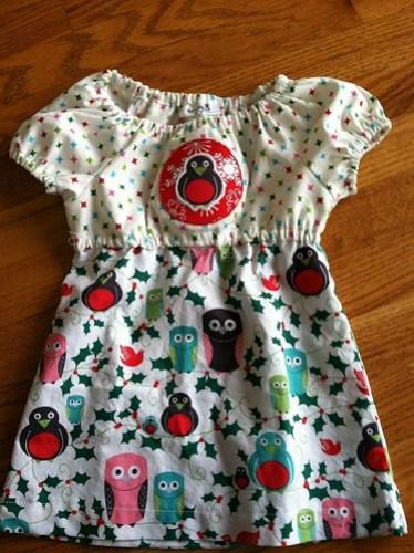 owl christmas dress w/hand applique