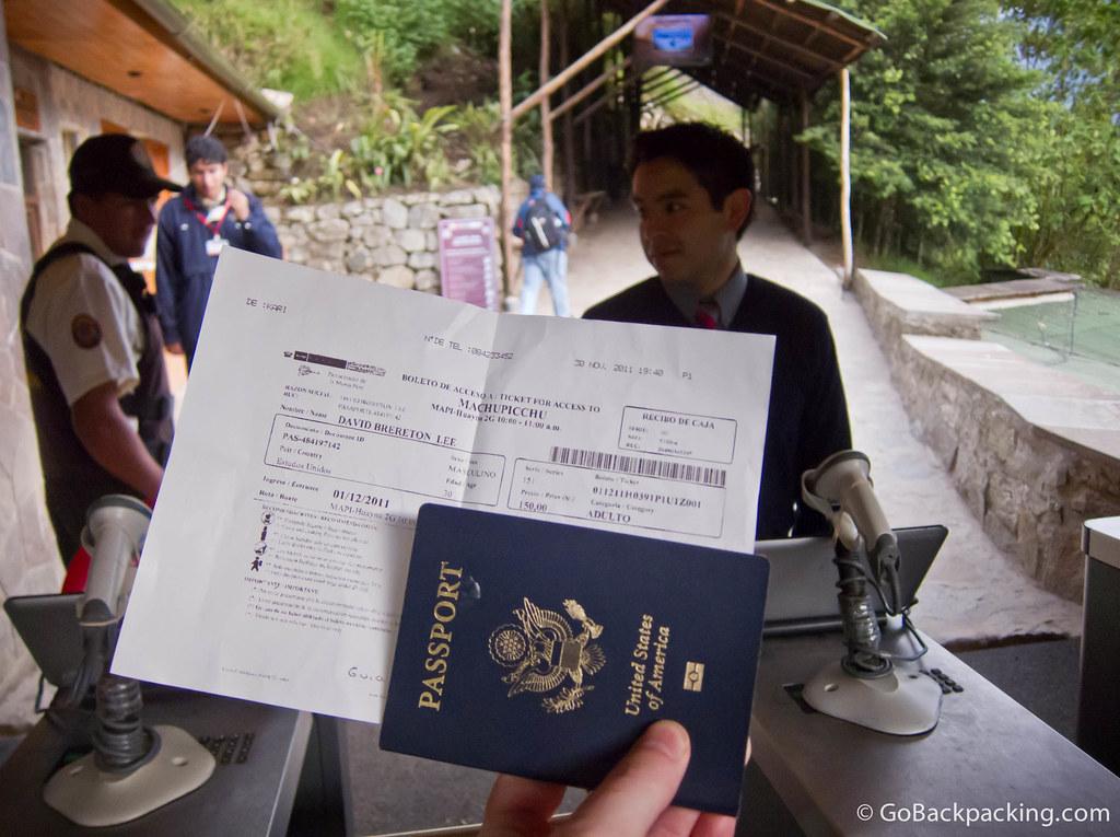 Visitors must bring their original passport to enter Machu Picchu