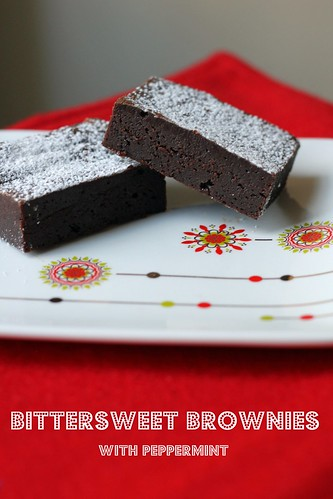 bittersweet brownies with peppermint
