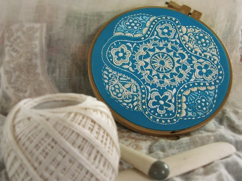 blue doily nearly done