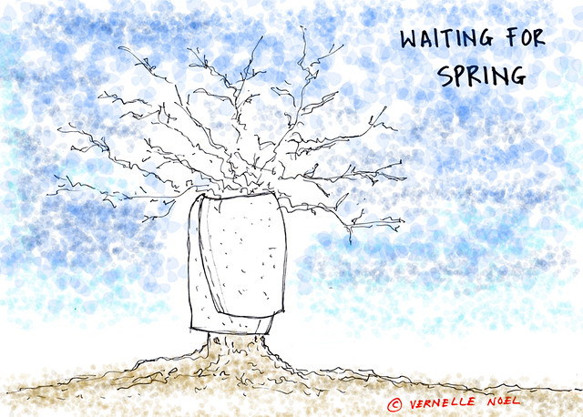 Waiting for spring, vernelle noel, thinking insomniac, spring, cartoon