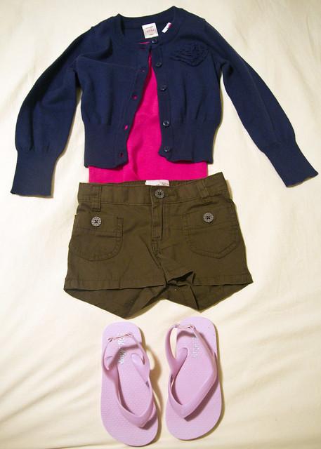 blue cardigan, pink tank top, brown shorts, pink flip flops