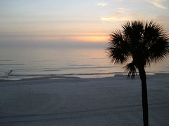 Sunset from our rented sea front condo in the Tampa Bay area.