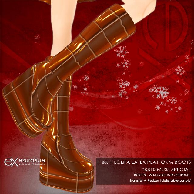 + eX + Lolita Latex Platform Boots *Krissmuss Special