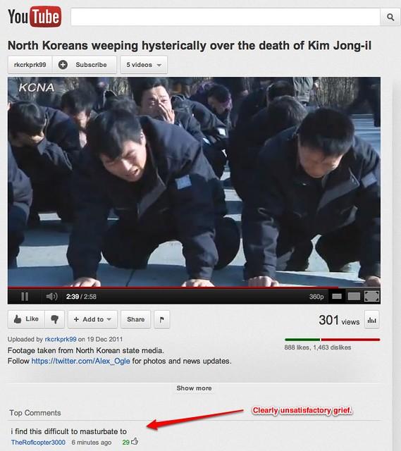Dissatisfaction with North Korean grief