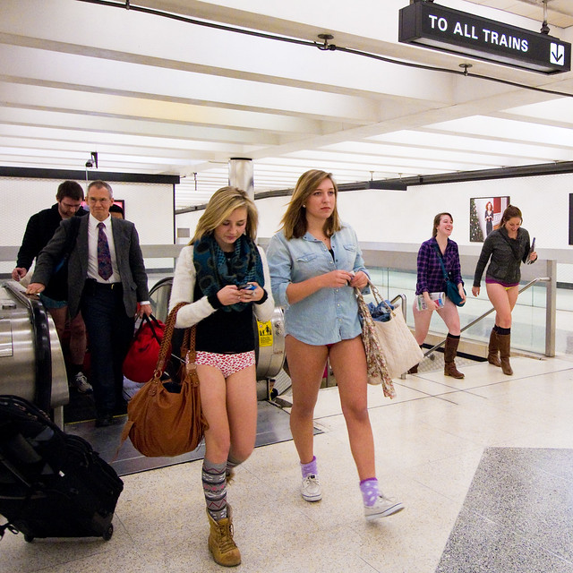 No Pants Subway Ride San Francisco 2012: montgomery 00