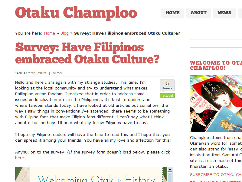 An Academic Survey on Filipinos as Otaku