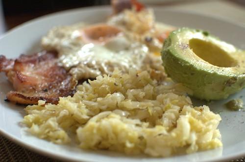 Raw sauerkraut, bacon, eggs, avocado