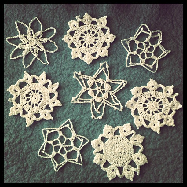 Handmade crocheted snowflakes. A wedding gift 8 years ago from a little old grandma in my neighborhood.