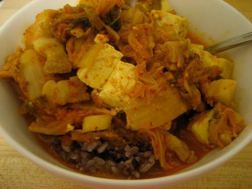 kimchi jjigae over rice