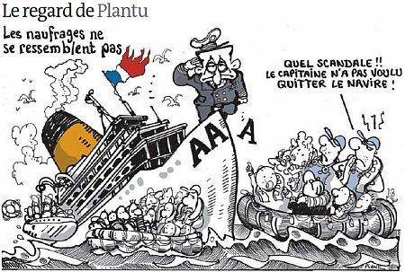 12a17 LMonde Plantu Sarkozy capitán de un barco que se hunde