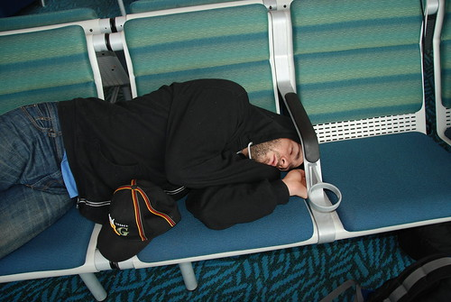Asleep on a layover... by one thing blog an online journal by Melissa Fedder
