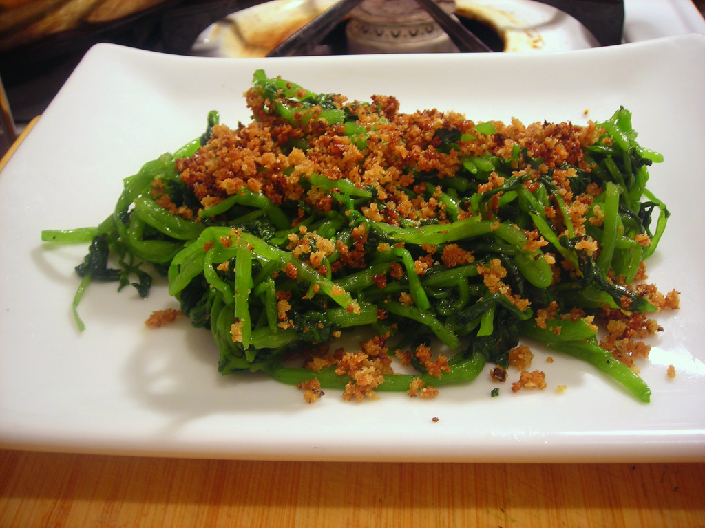Sautéed watercress, with crispy fried breadcrumbs