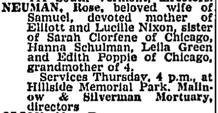 Rose Neuman's Obit Dec. 21, 1967