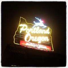 Portland Oregon - White Stage Sign