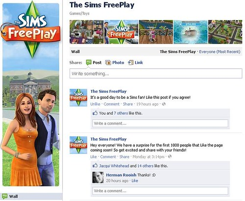 The Sims FreePlay Gets a Facebook Page...
