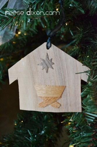 Wood Veneer Creche Ornament